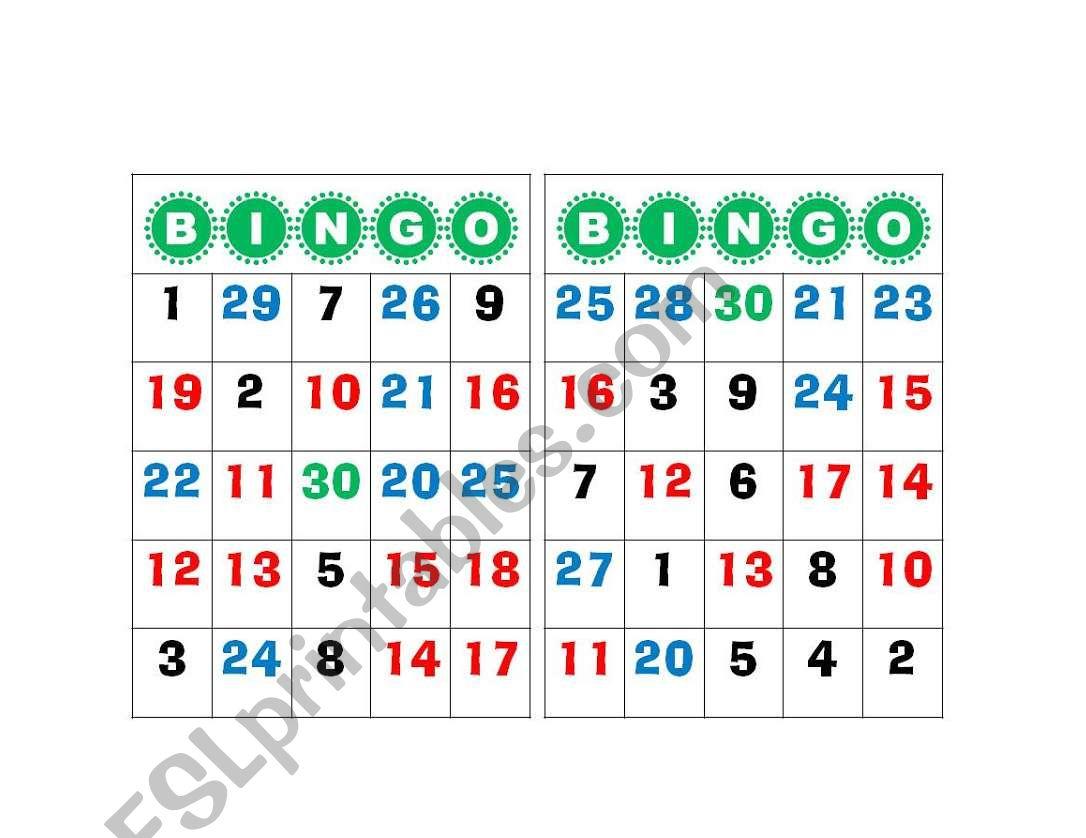 Bingo Number 1 To 30 - Esl Worksheetgabyca145