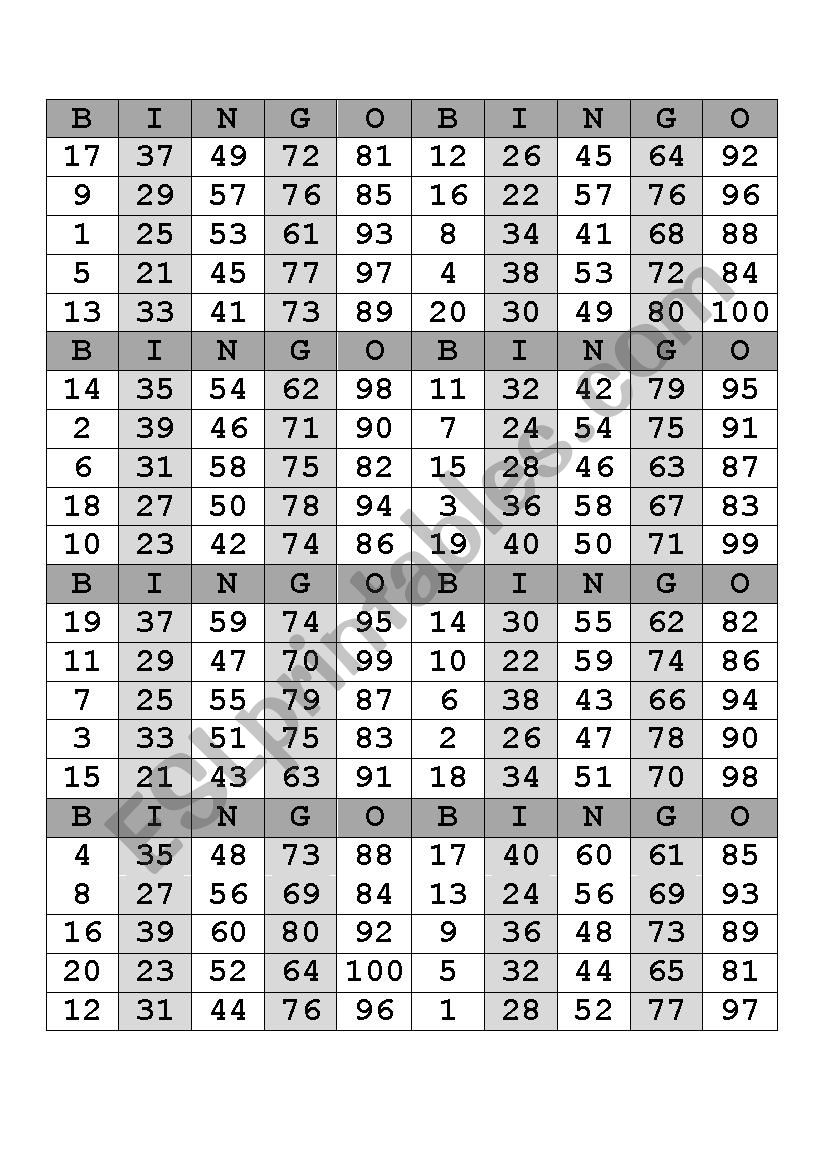 Bingo Numbers 1-100 - Esl Worksheetanacathylc