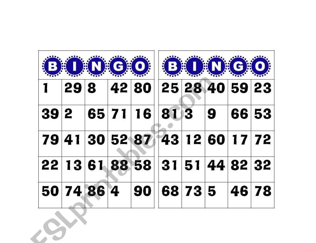 Bingo Numbers 1 To 100 - Esl Worksheetgabyca145