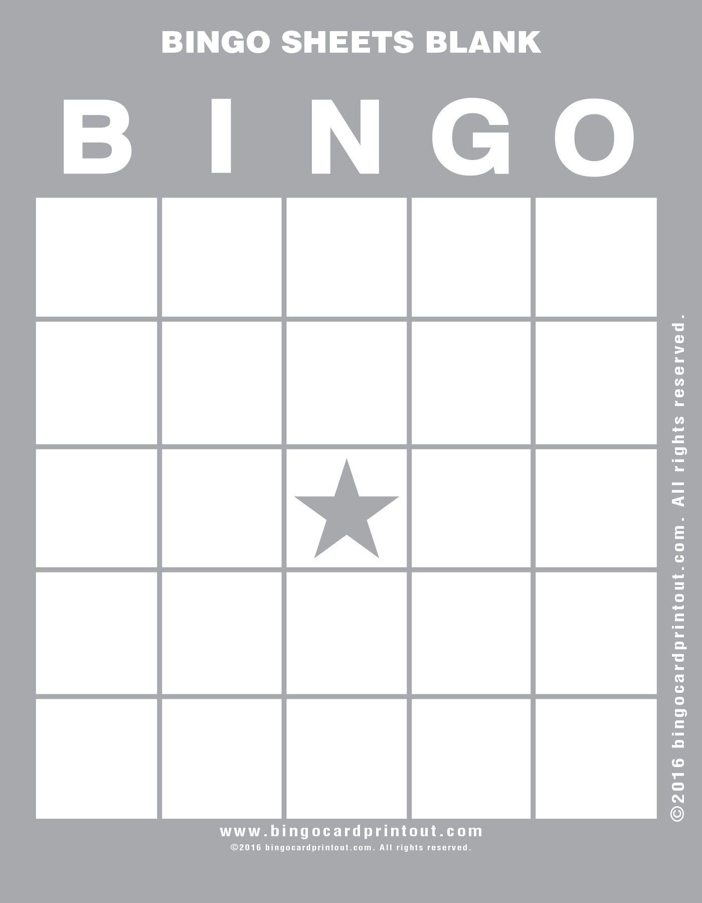 Bingo Sheets Blank | Bingo Sheets, Bingo Cards, Blank Bingo
