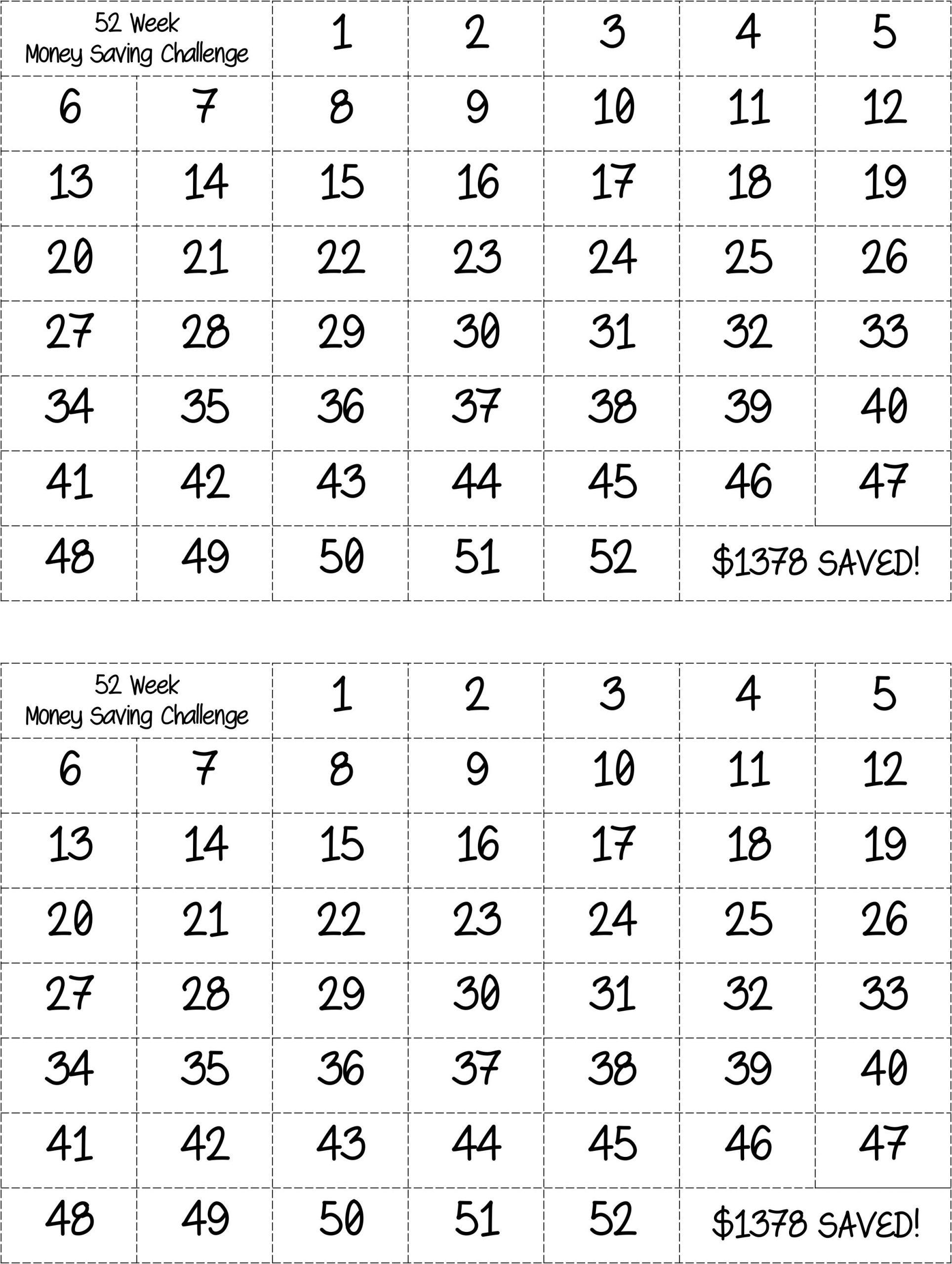 Bingo Style - 52 Week Money Saving Challenge. Prints Two On