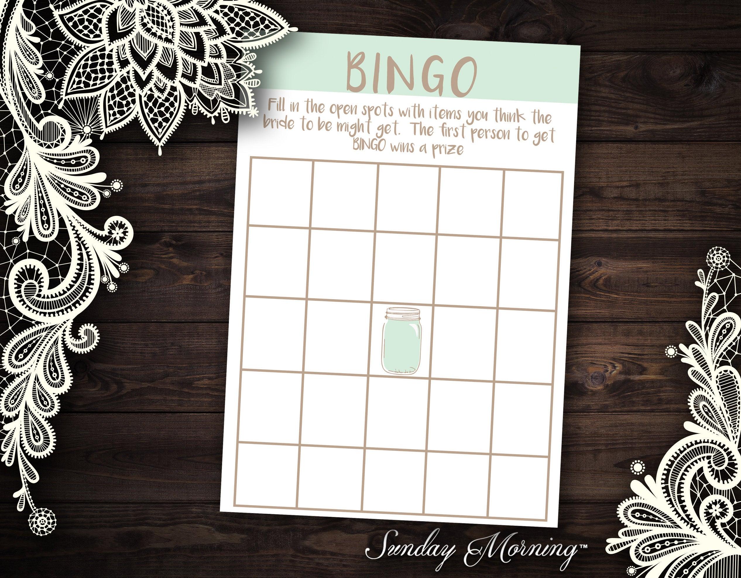 Blank Bingo Template Mason Jar Theme Bingo Card Rustic Wedding Theme Party  Game Wedding Shower Game