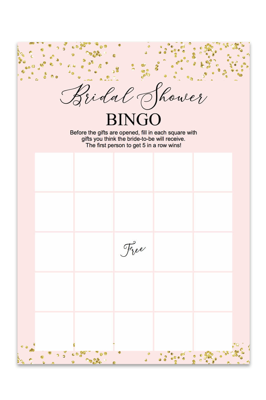Blush And Confetti Bridal Shower Bingo - Chicfetti