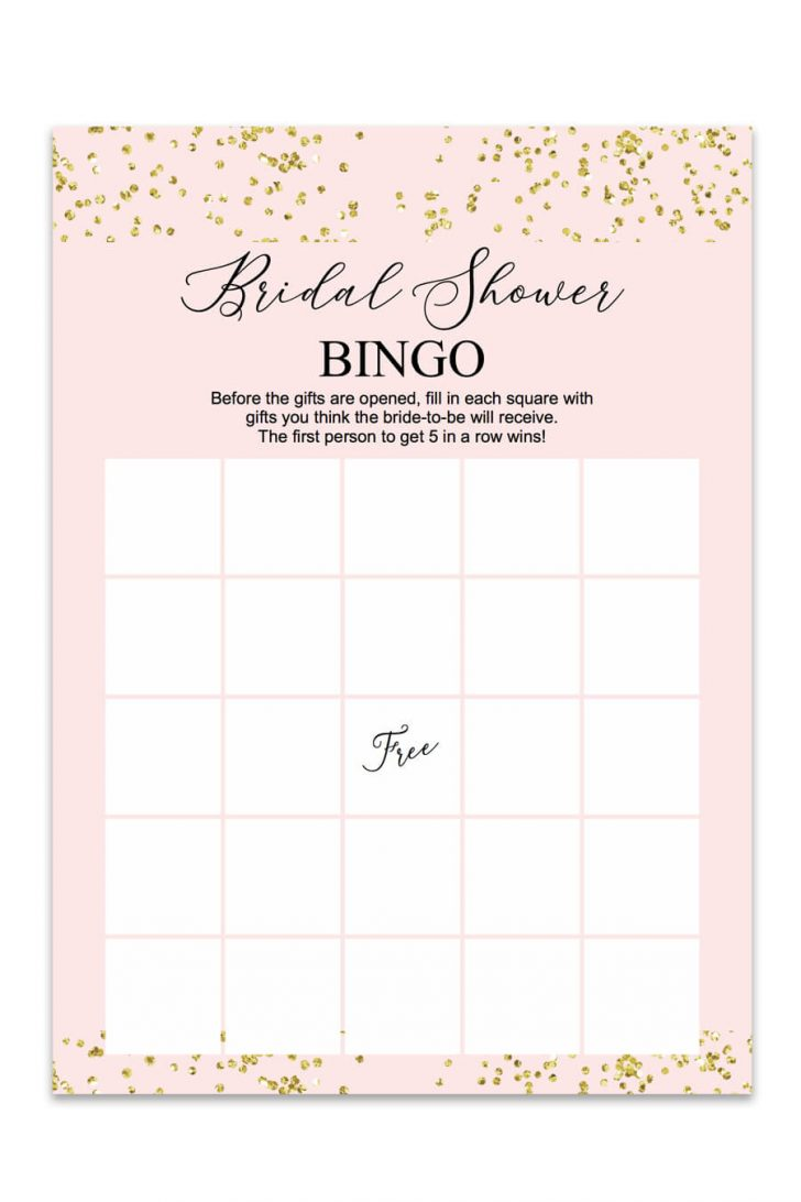 Printable Wedding Shower Blank Bingo Cards