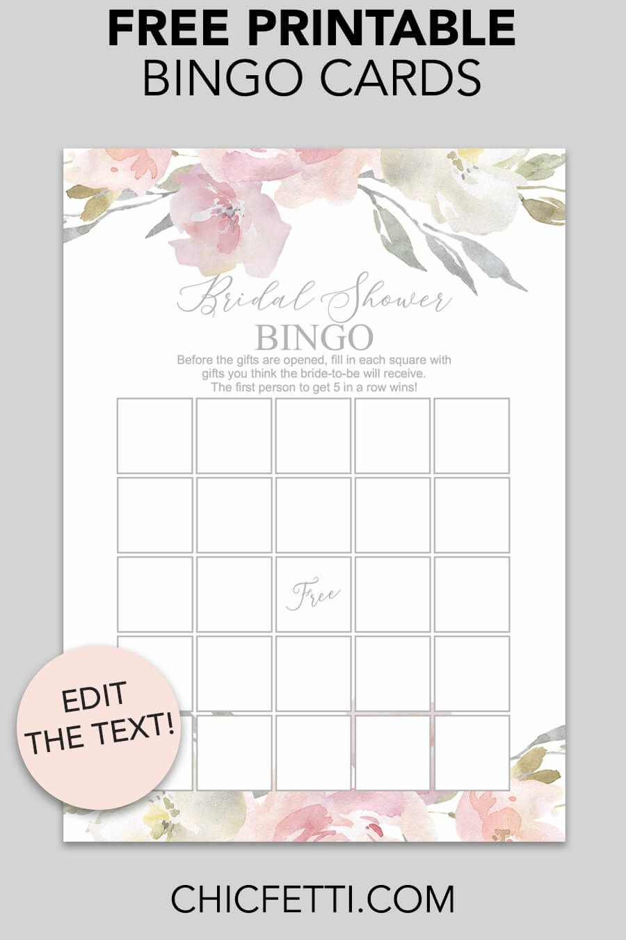Blush Floral Printable Bridal Shower Bingo | Printable
