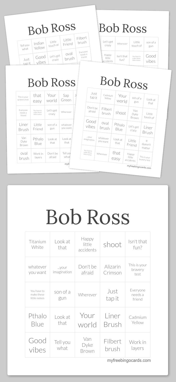 Bob Ross Bingo | Free Bingo Cards, Bingo Cards, Free