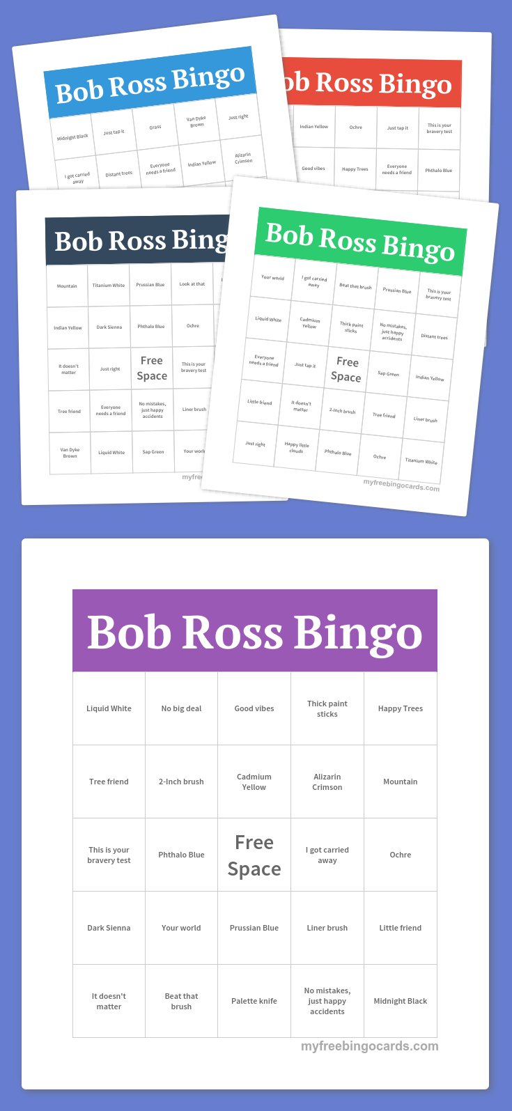 Bob Ross Bingo | Free Bingo Cards, Free Printable Bingo