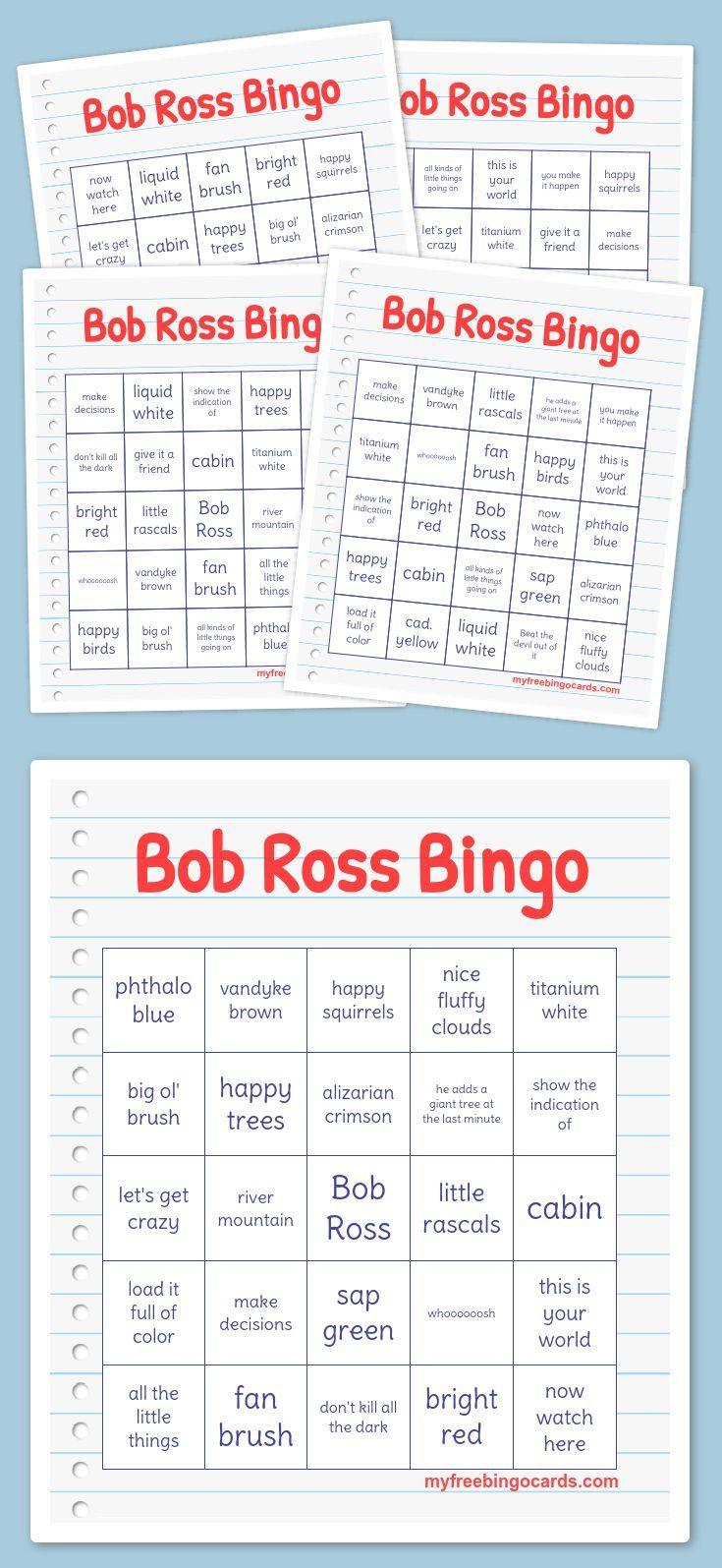 Bob Ross Bingo | Free Printable Bingo Cards, Bingo Cards