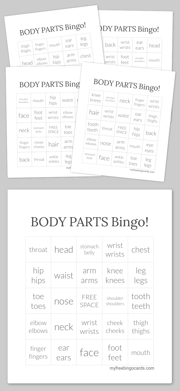 Body Parts Bingo! - 30 Cards And Callers Card In Pdf