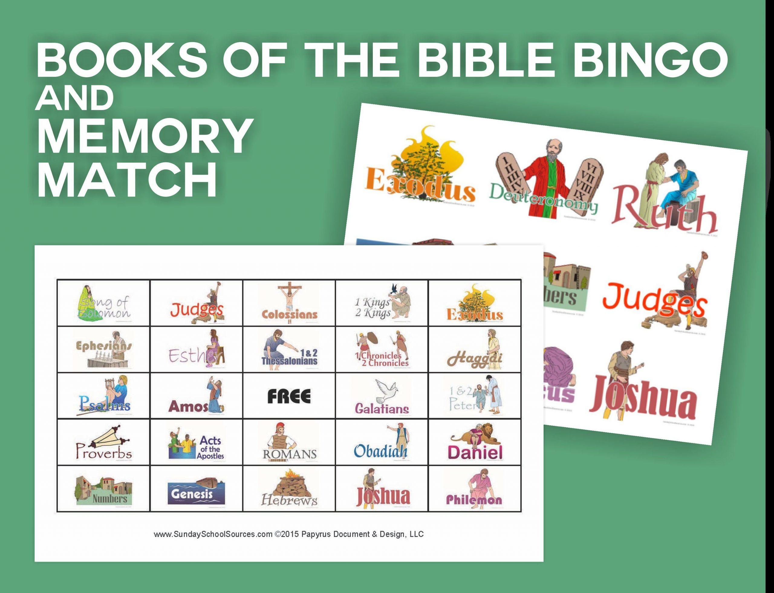 Books Of The Bible Bingo 48 Printable Cards & Memory Match