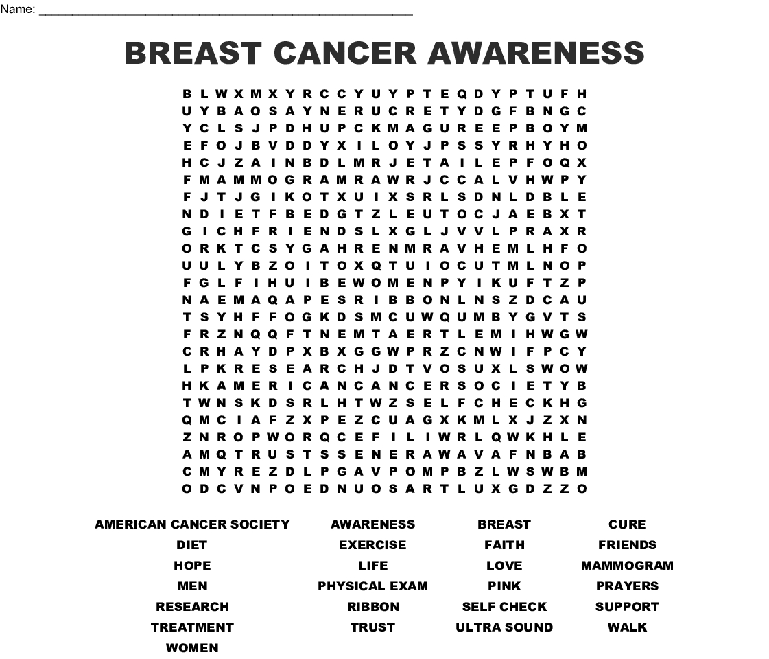 Breast Cancer Awareness Word Search - Wordmint
