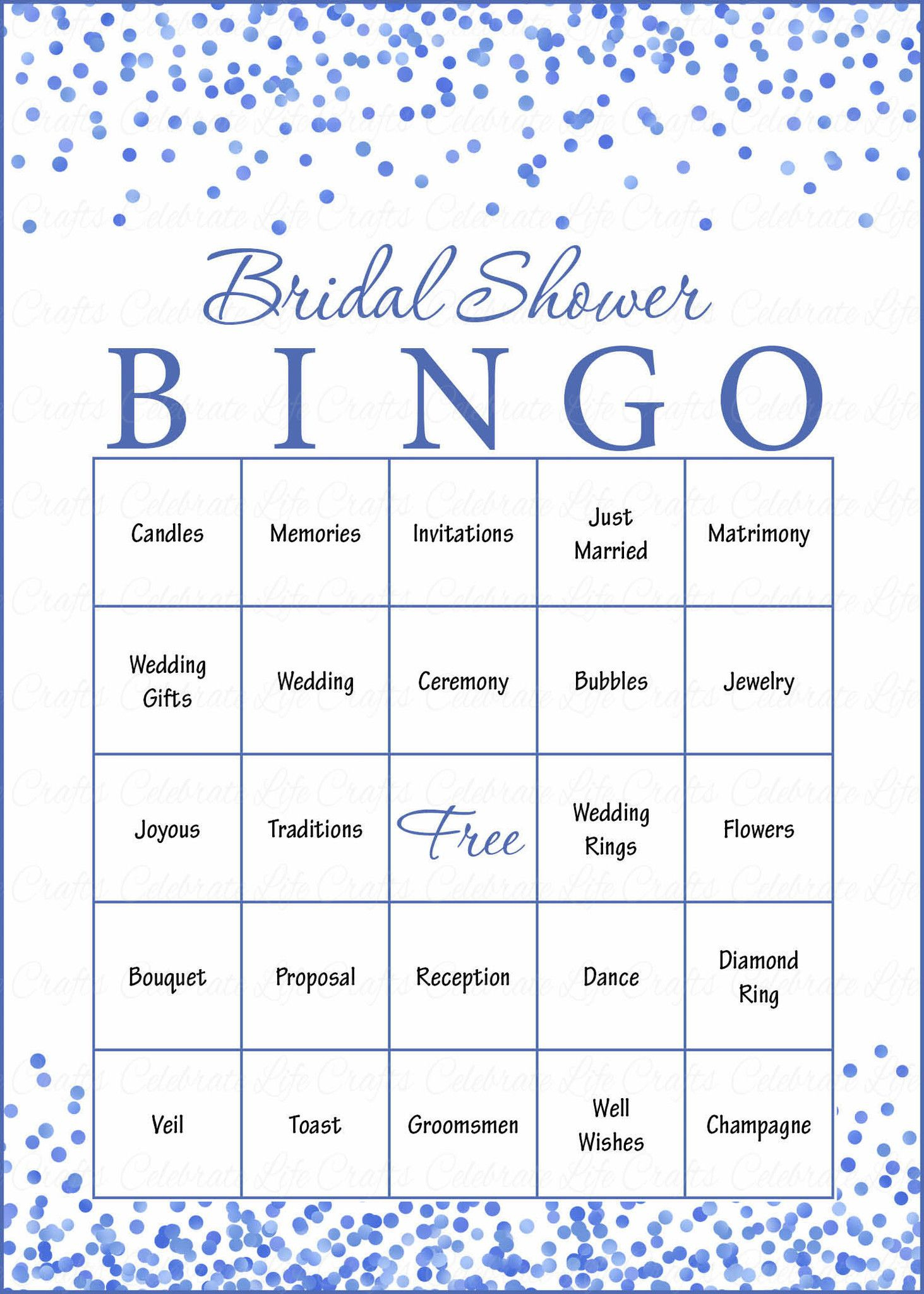 Bridal Bingo Cards - Printable Download - Prefilled - Bridal