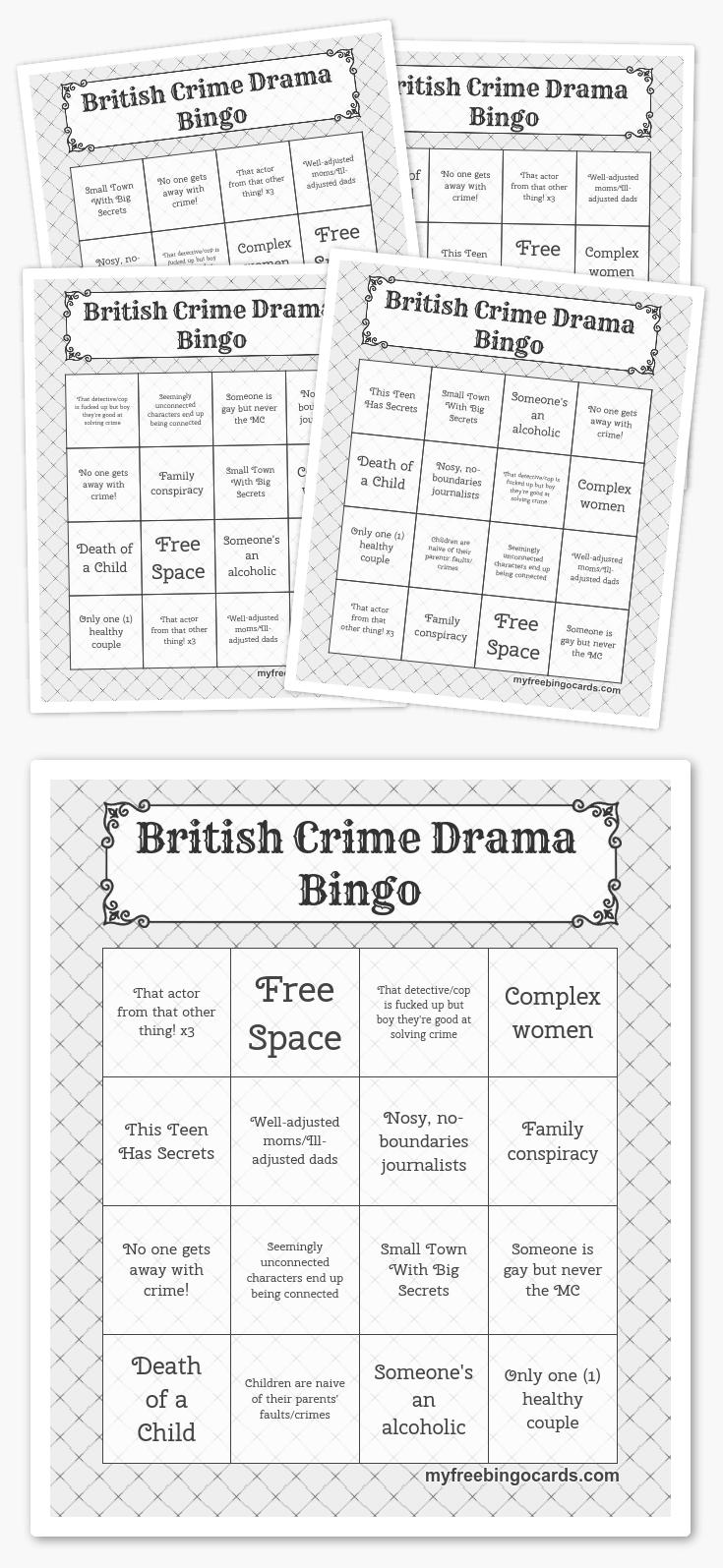 British Crime Drama Bingo   Free Printable Bingo Cards