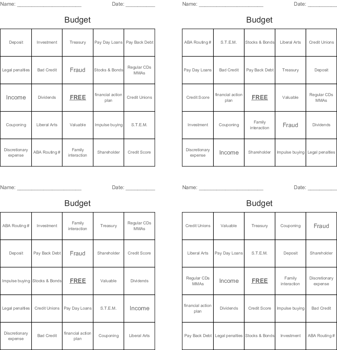 Budget Bingo Cards - Wordmint