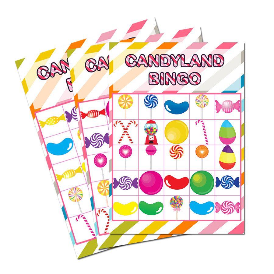 Candyland Bingo Cards Printable - 30 Cards , Candyland