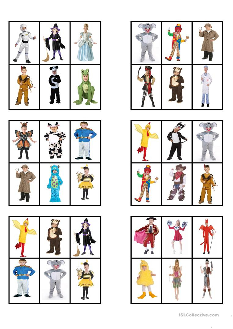 Canival Costumes - Bingo Cards - English Esl Worksheets For