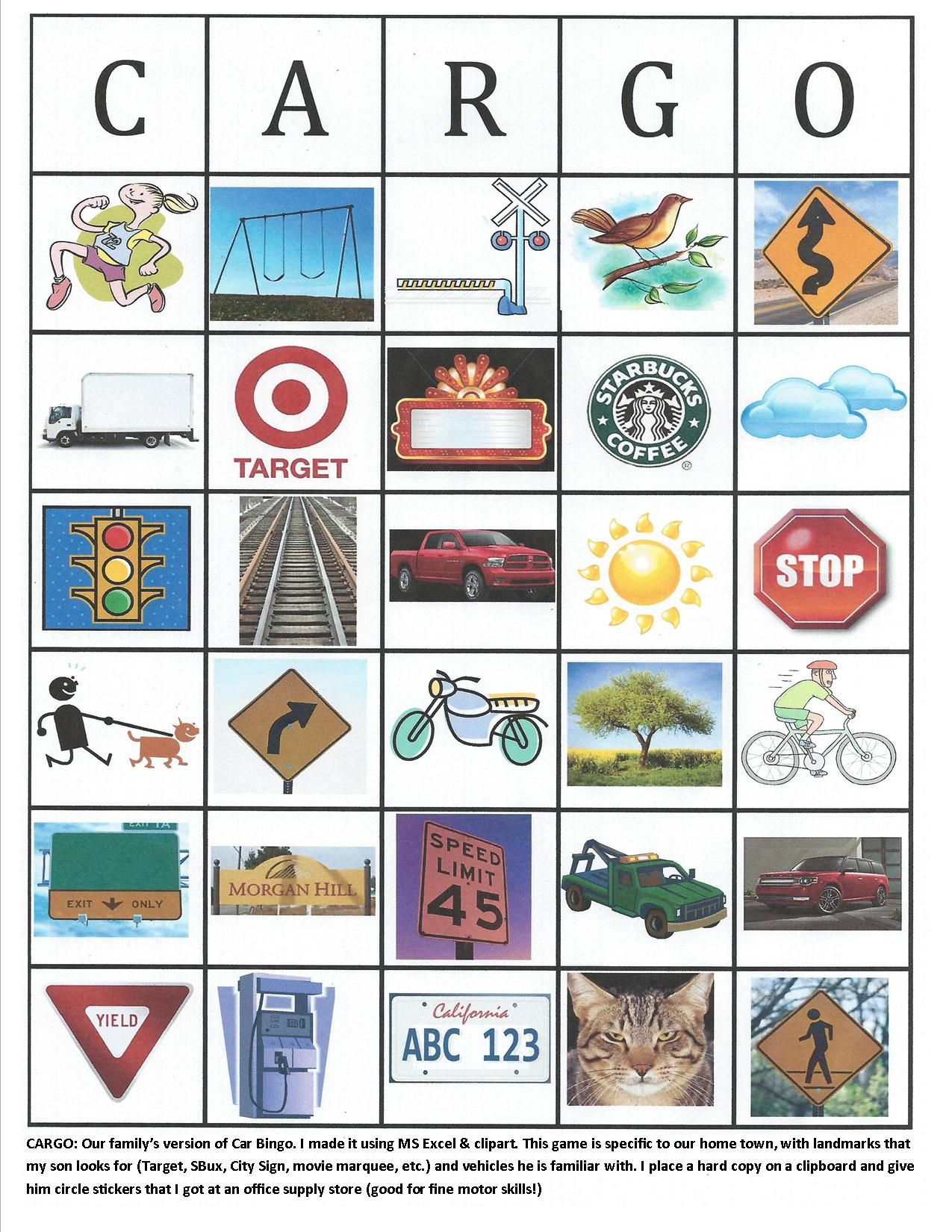 Cargo (Car Bingo) | My Road Trip, Road Trip Fun, Travel Fun