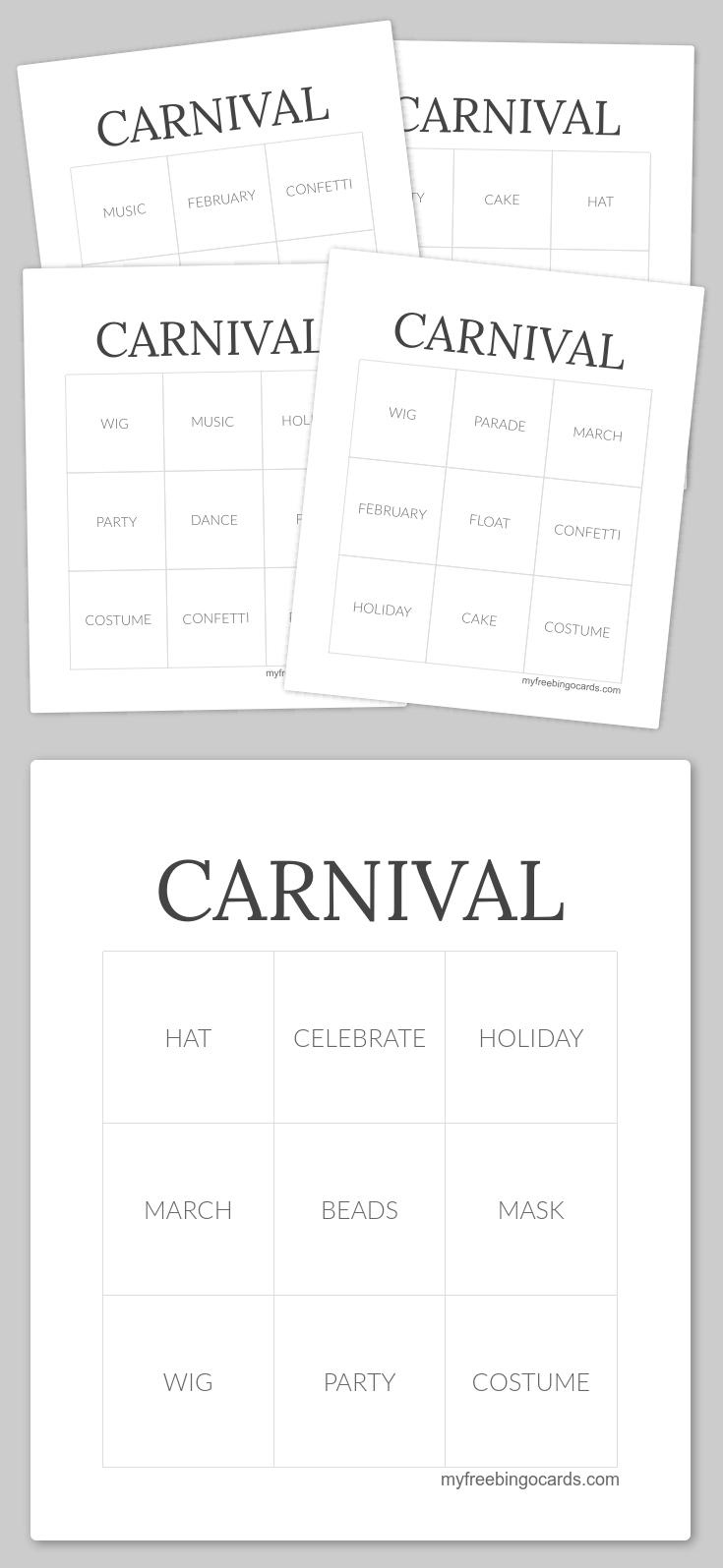 Carnival Bingo | Bingo Cards, Free Printable Bingo Cards