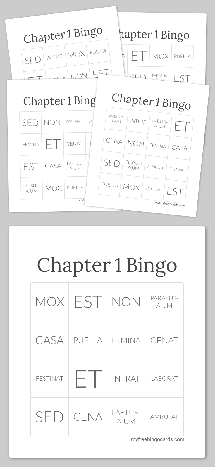Chapter 1 Olc Latin Bingo Cards X30 | Bingo Cards, Free