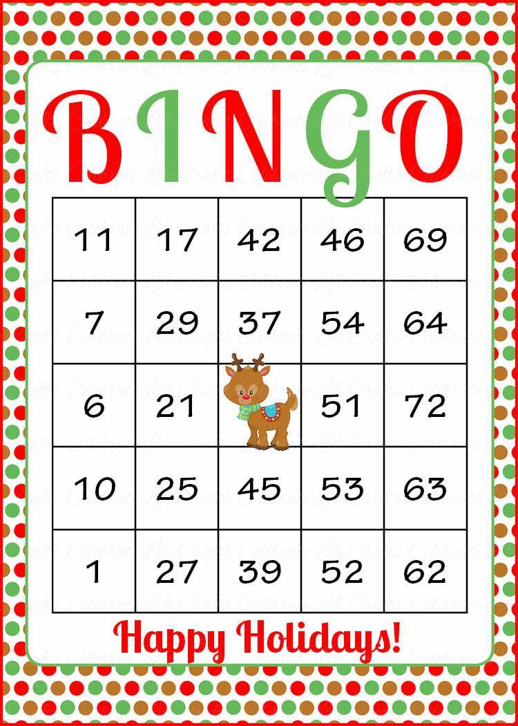 Christmas Bingo Cards - Printable Download - Prefilled