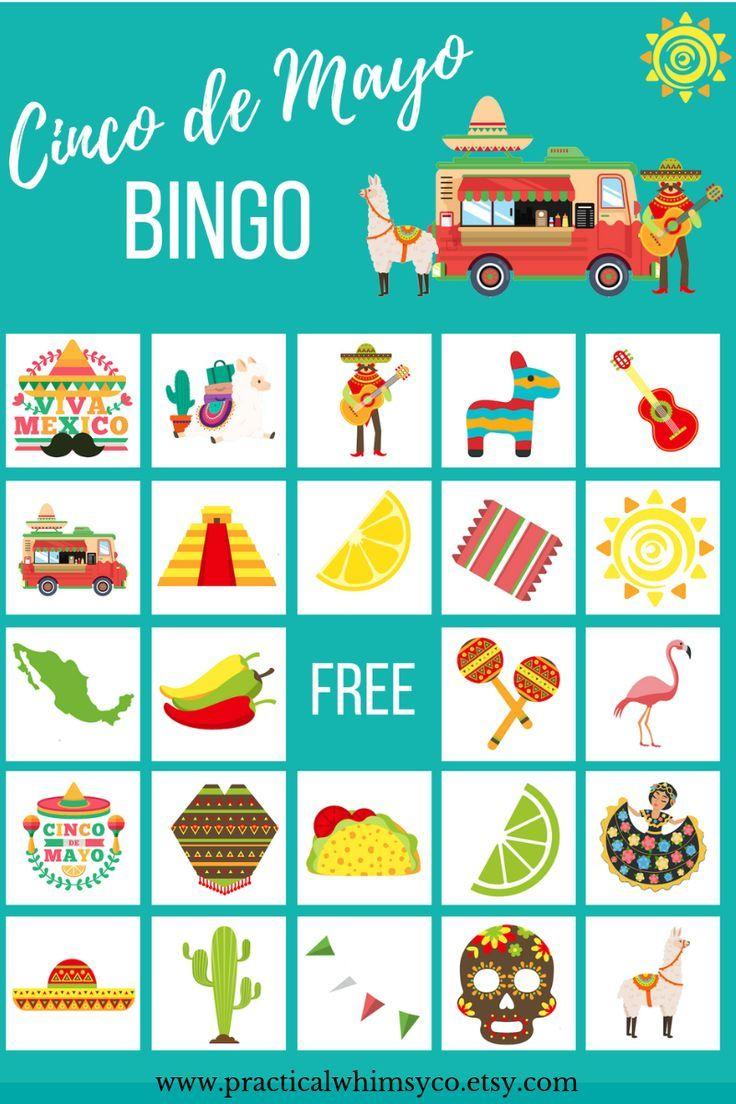 Cinco De Mayo Party Game, Mexican Bingo Cards Birthday Game