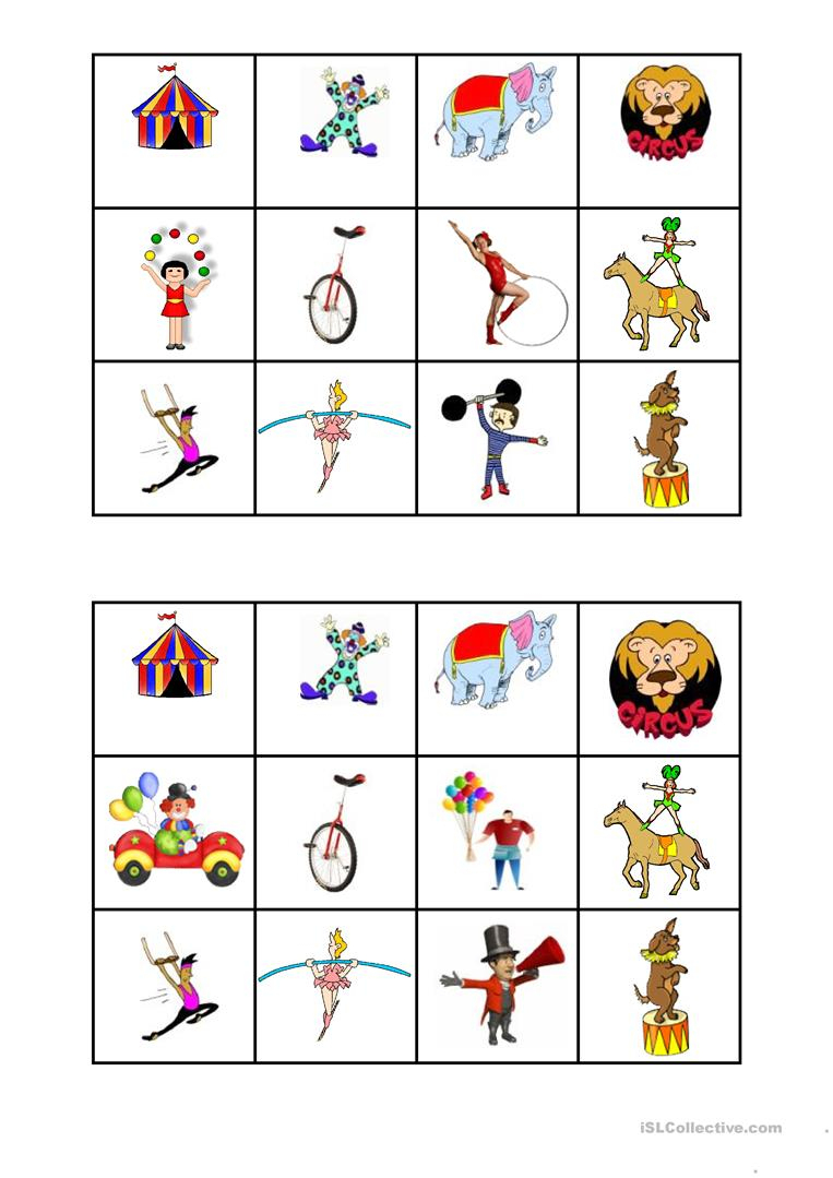 Circus Bingo - English Esl Worksheets For Distance Learning