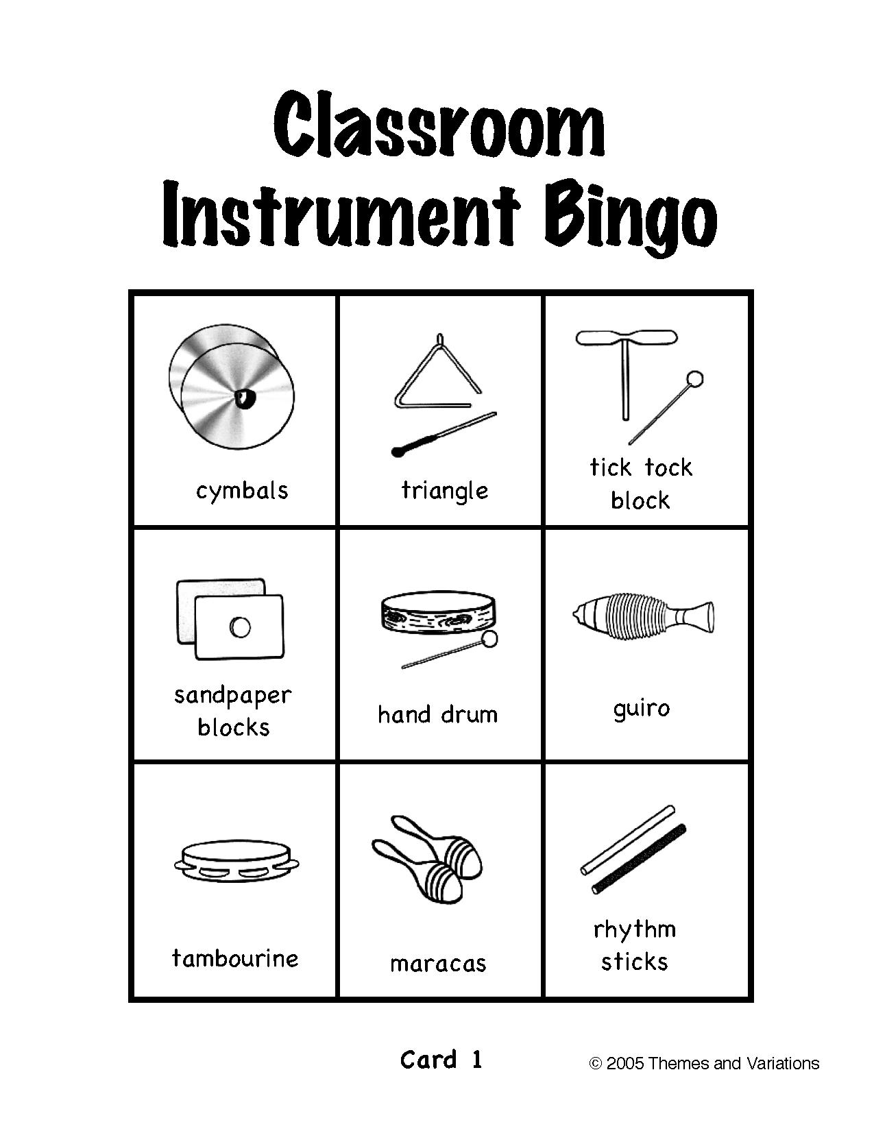 Classroom Instrument Bingo | Elementary Music Class, Drum