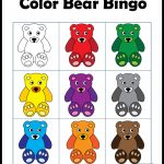 Color Games For Kids With A Bear Theme   Bingo Card