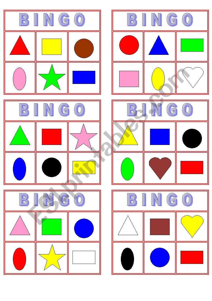 Color Shape Bingo! - Esl Worksheetyarith