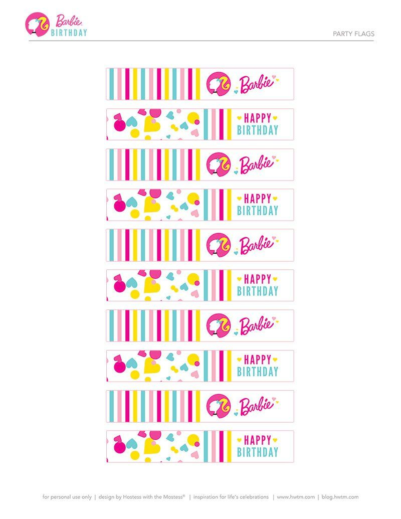 Colorful Barbie Style Birthday Party - Free Printables