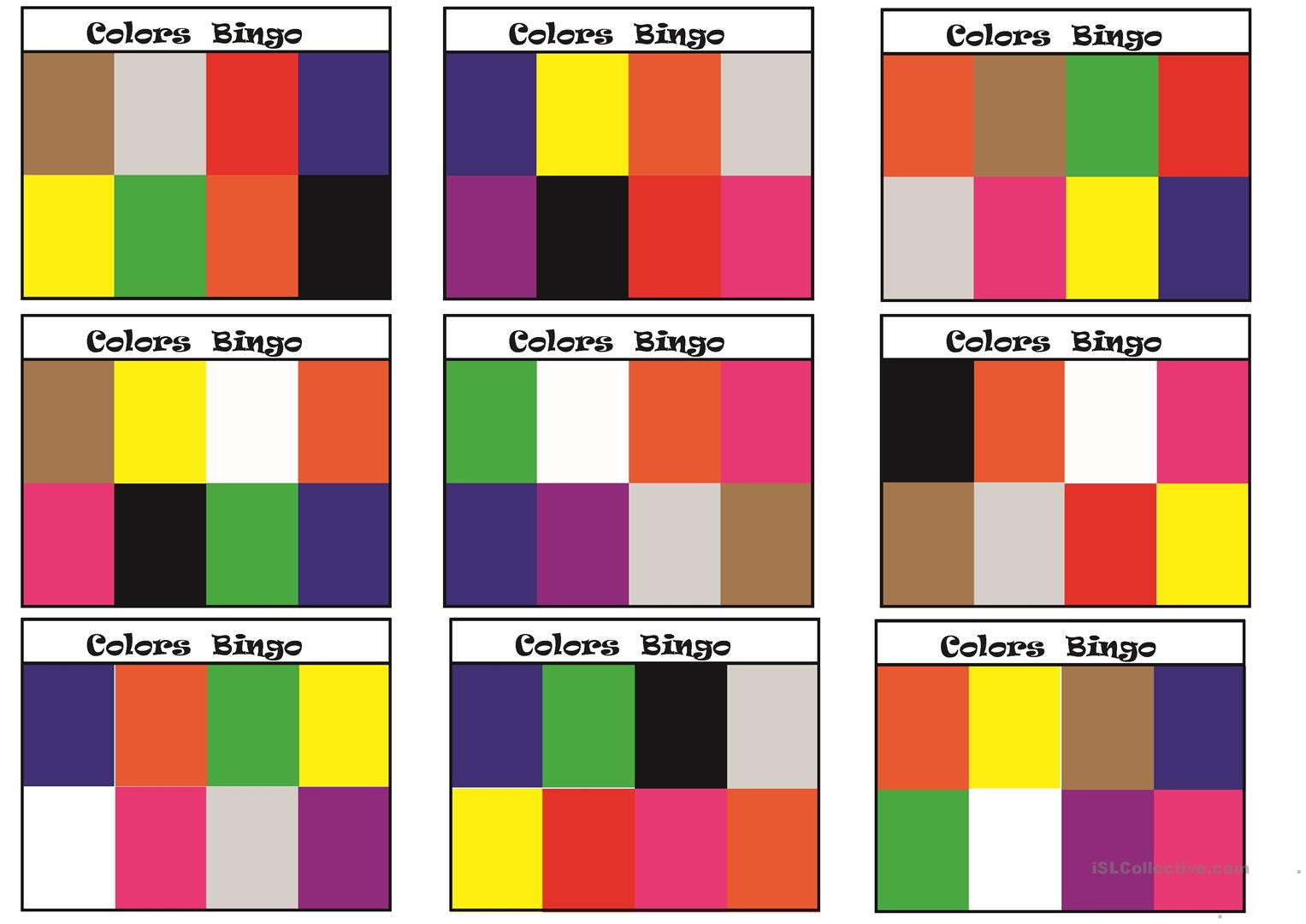 Colors Bingo - English Esl Worksheets For Distance Learning
