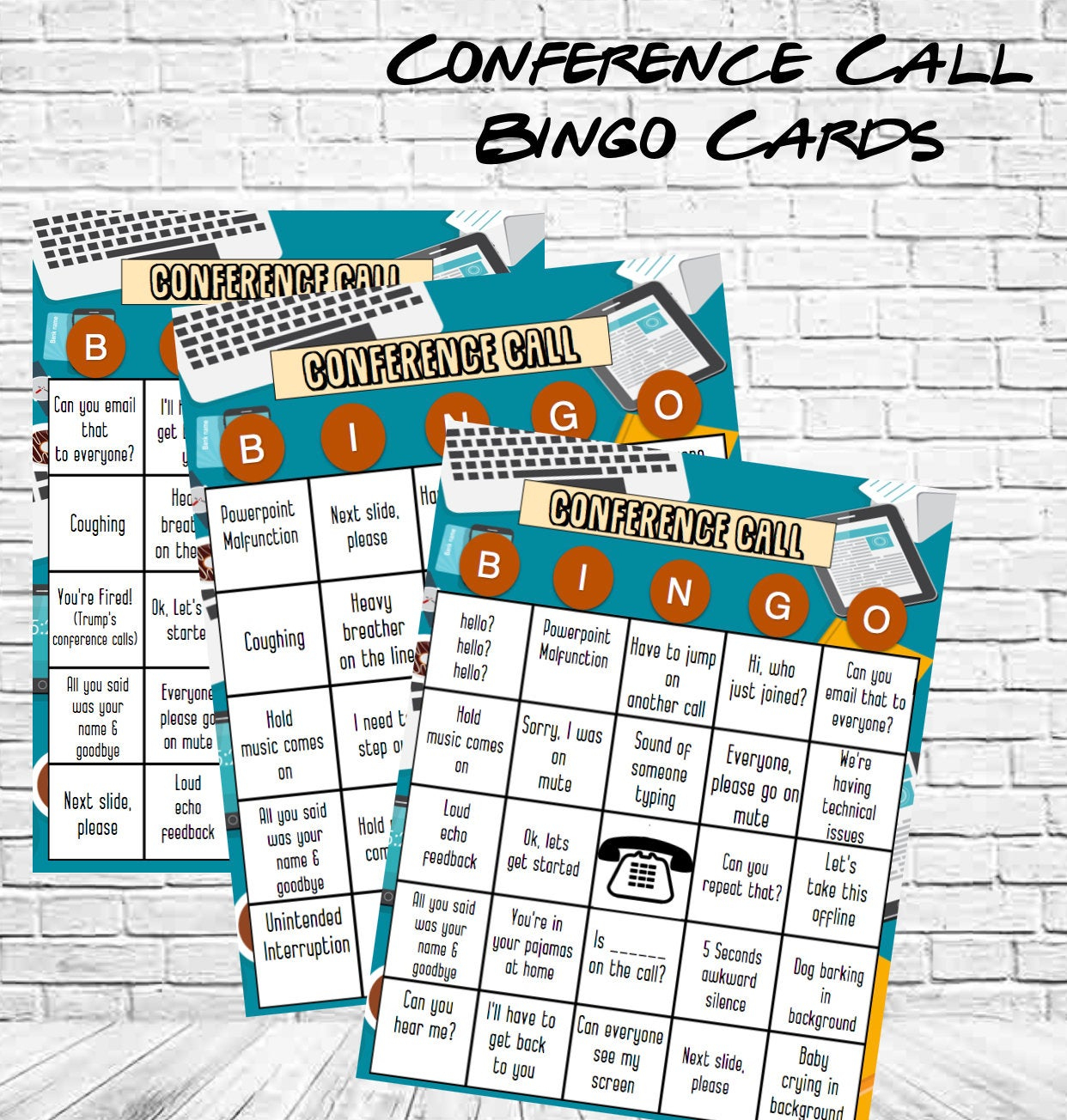 Company Conference Call Bingo Cards   Retirement Party Bingo Game    Conference Call Bingo Game   Instant Download For An Office Party!
