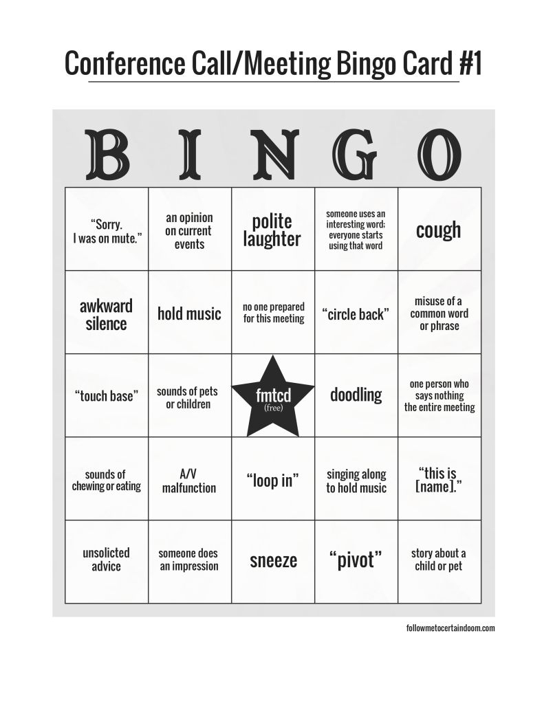 Conference Call And/or Meeting Bingo | Conference Call Bingo