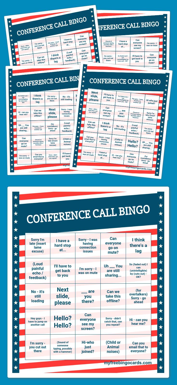 Conference Call Bingo | Bingo Card Generator, Free Printable