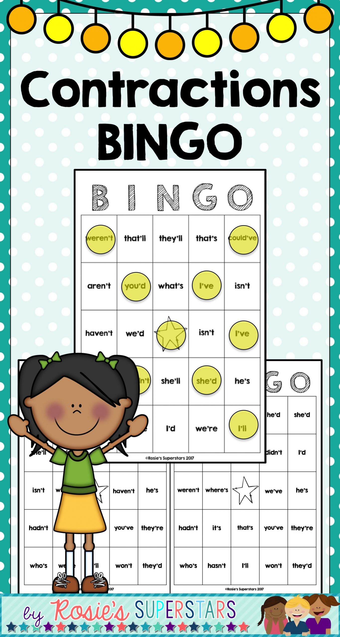 Contractions Bingo Game | Bingo Games, Blank Game Board