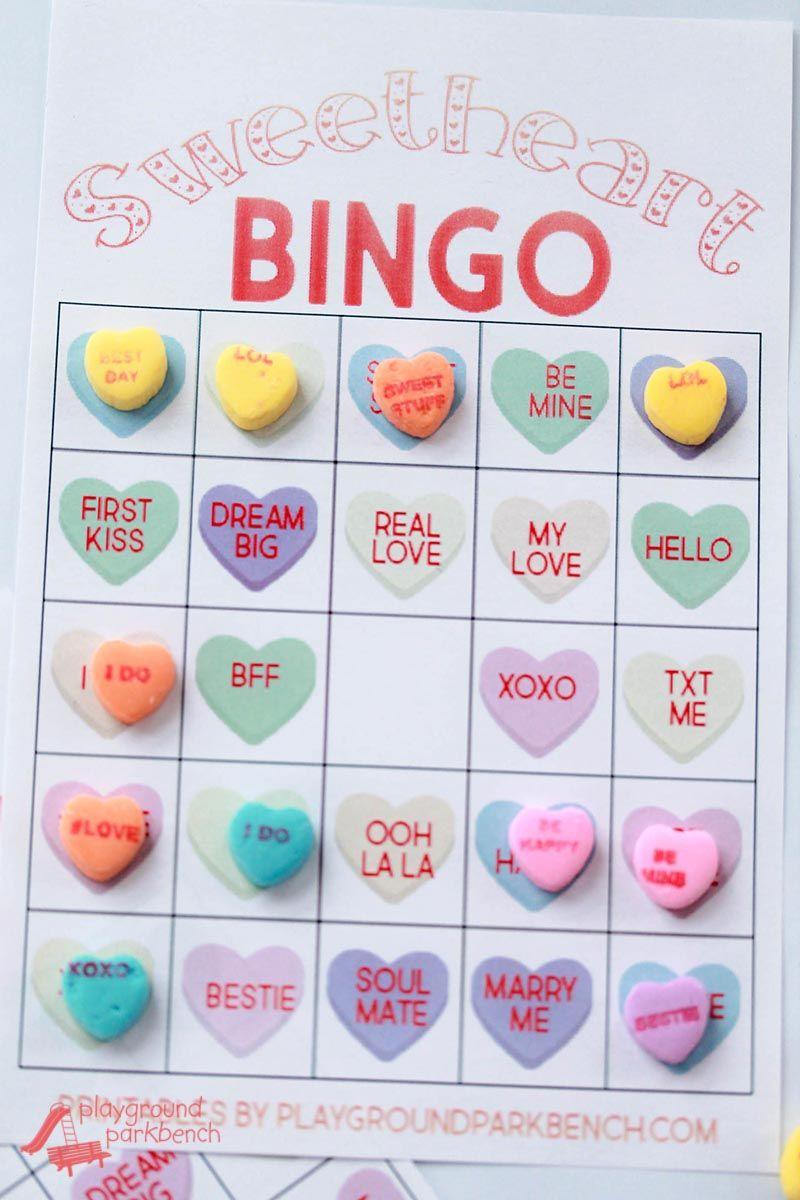 Conversation Heart Valentine Bingo Cards   Valentines Games