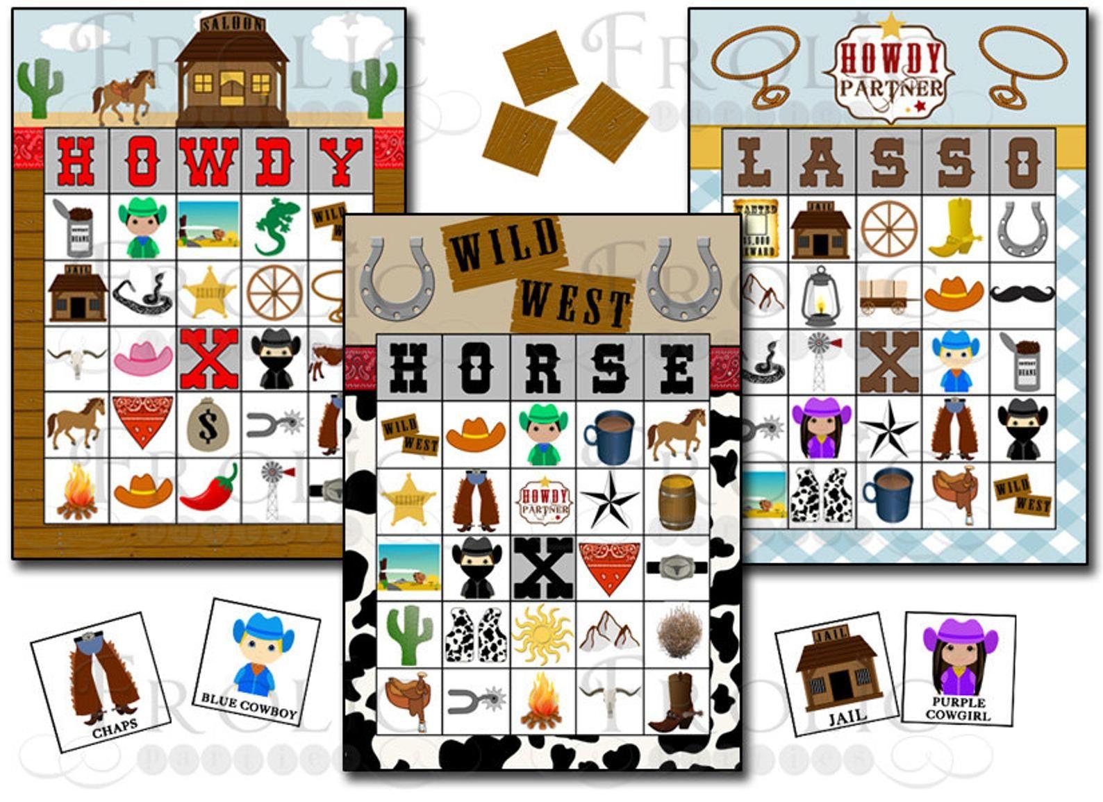 Cowboy Bingo 30 Printable Bingo Cards Instant Download