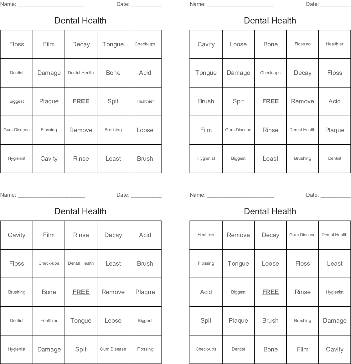 Dental Health Bingo Cards - Wordmint