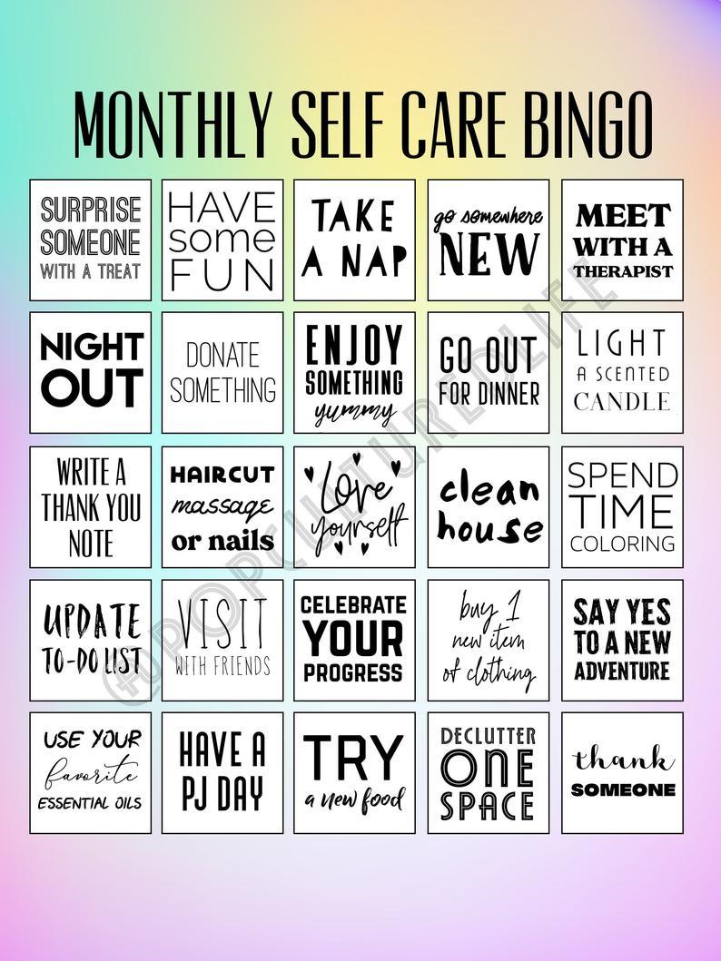 Digital Prints - Self Card Bingo - To Do Printable - Mental Health  Awareness - Mental Health Printable Planner - Mental Health Printable