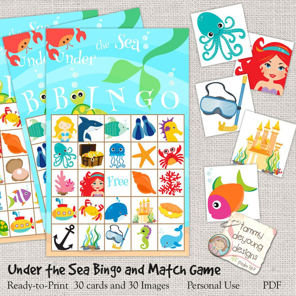 Digital Under The Sea Bingo, Printable Mermaid Bingo, Ocean