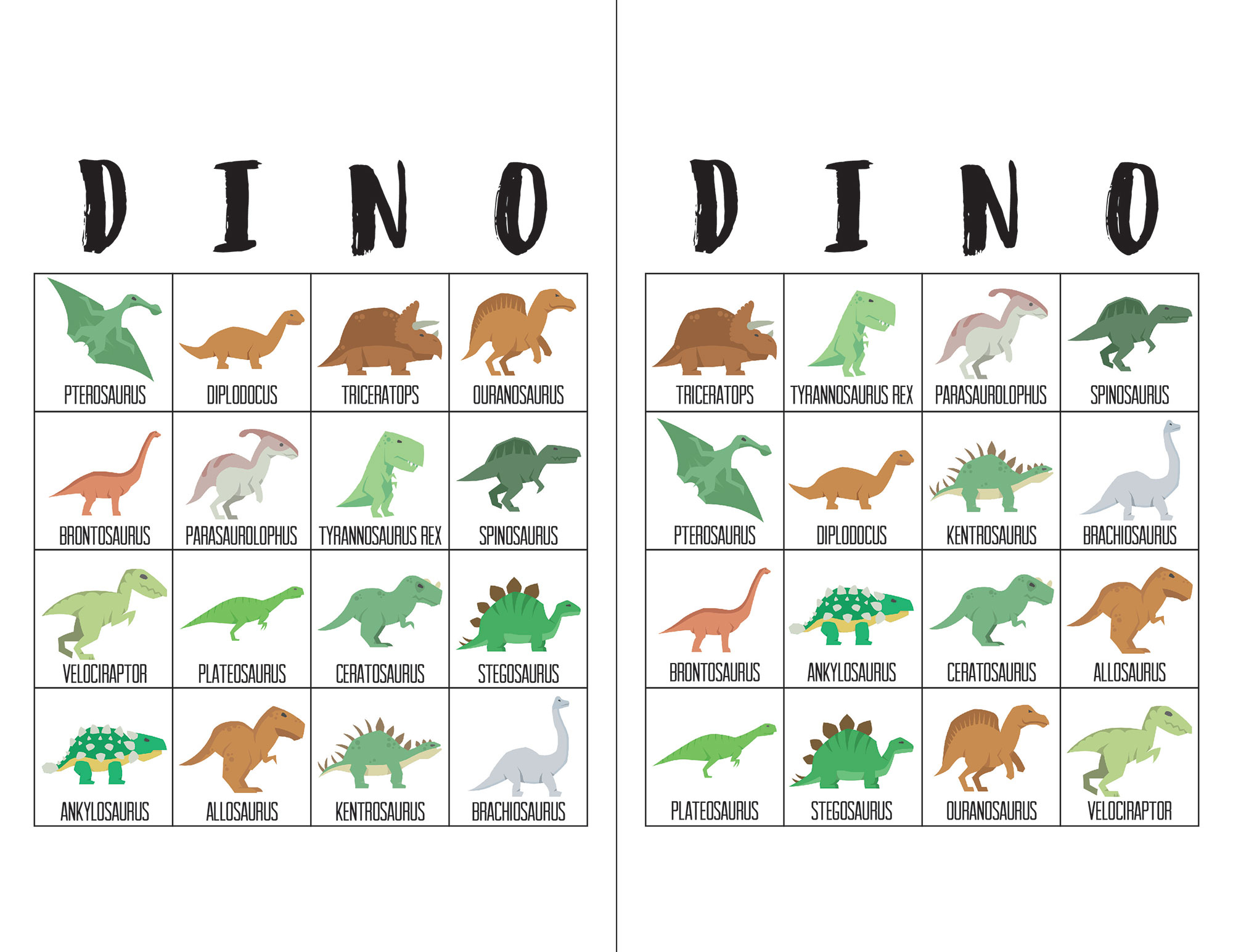 Dinosaur Bingo Cards - The Okie Home