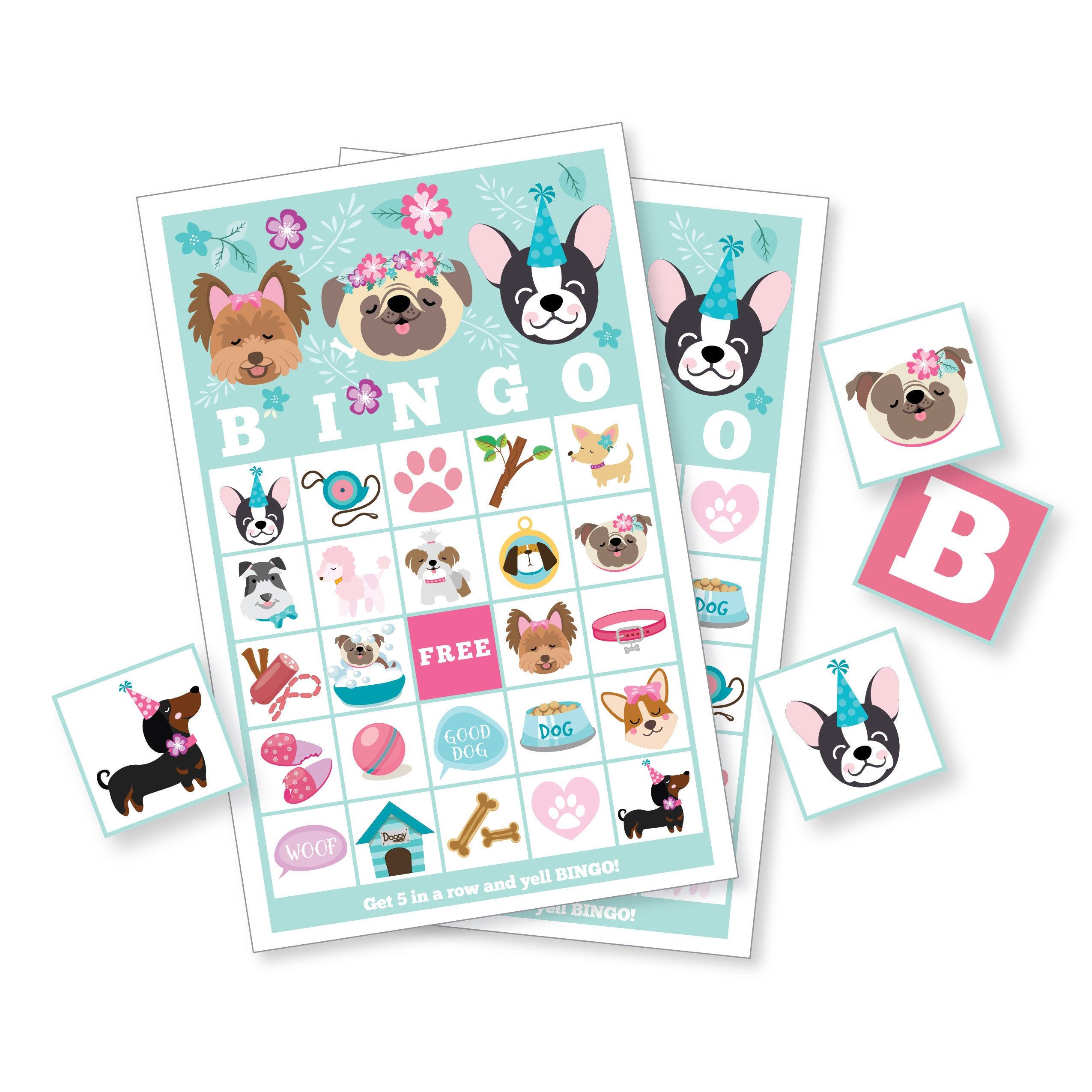 Dog Bingo Game - Pug - Puppy - Dog Party Game, Girl's