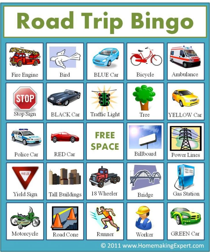 Printable Car Bingo Cards
