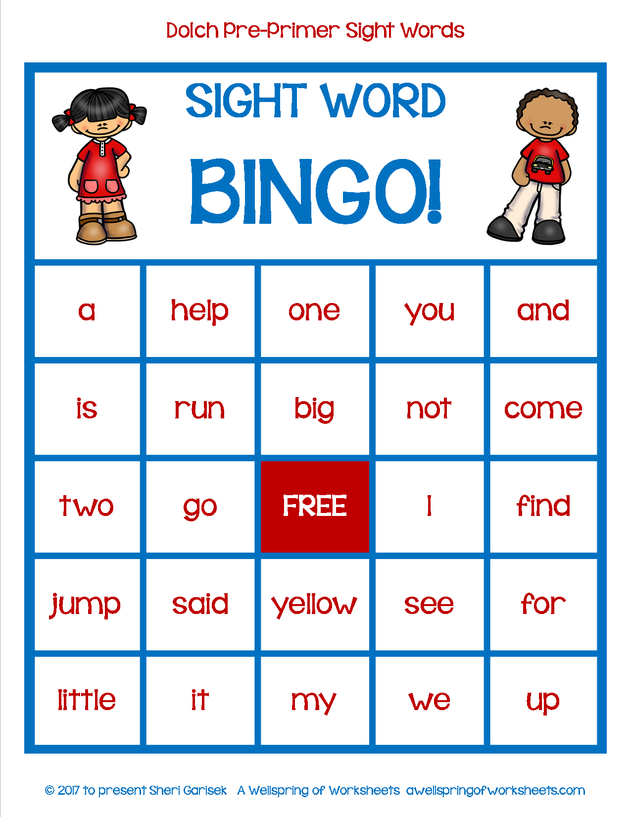 Dolch Pre-Primer Sight Word Game - Bingo | Pre Primer Sight