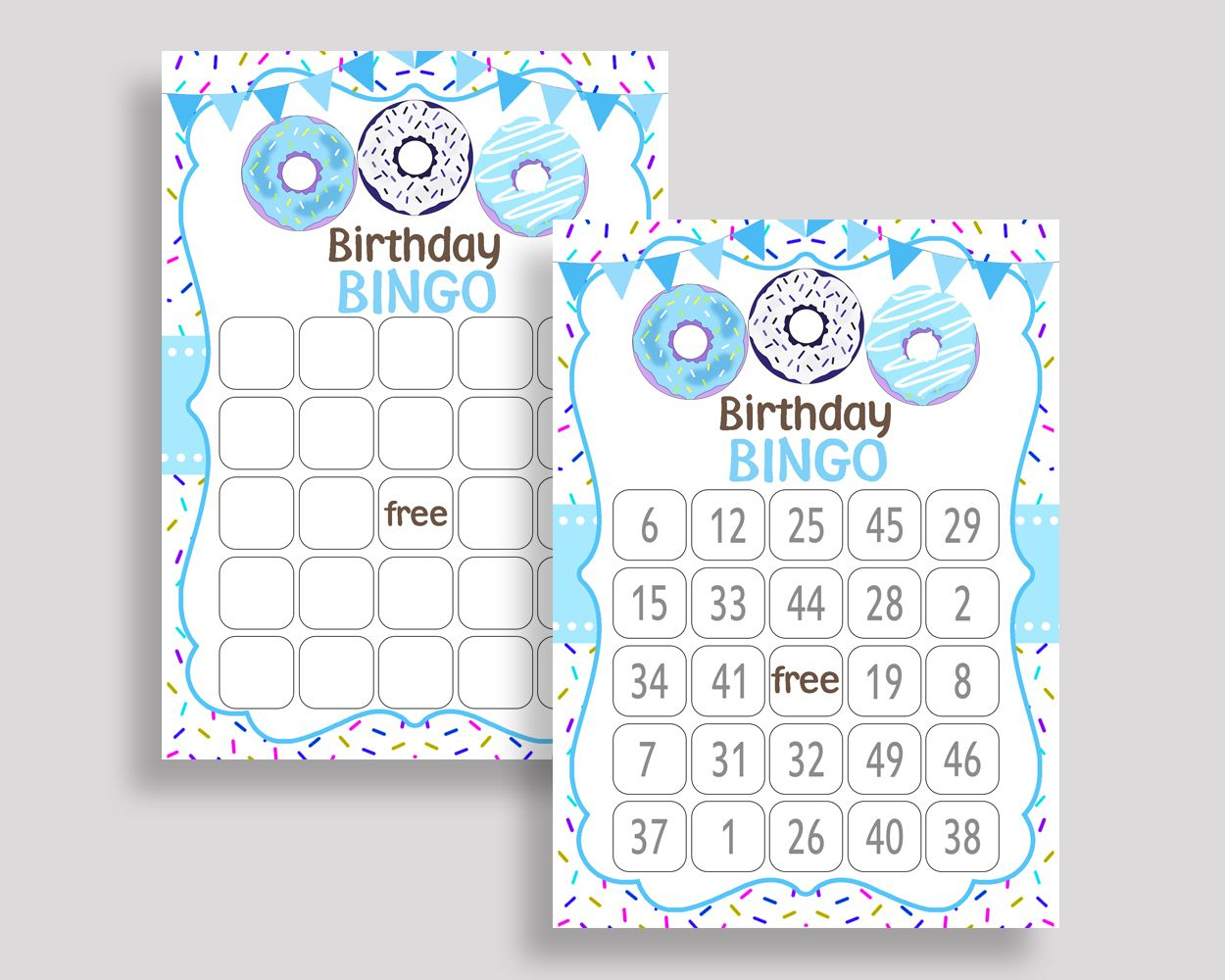 Donut Bingo Game Cards, Donut Birthday Game, Printable Blue
