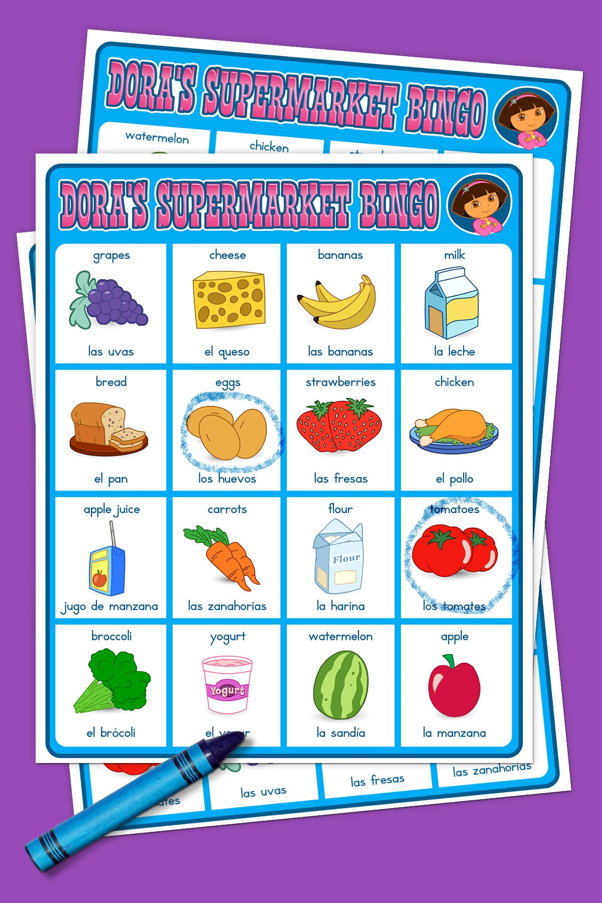 Dora Supermarket Bingo Game | Supermarket Games, Dora The