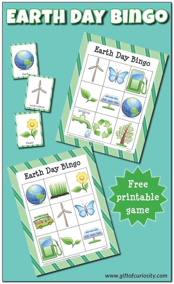 Earth Day Bingo {Free Printables} | Earth Day Games, Earth