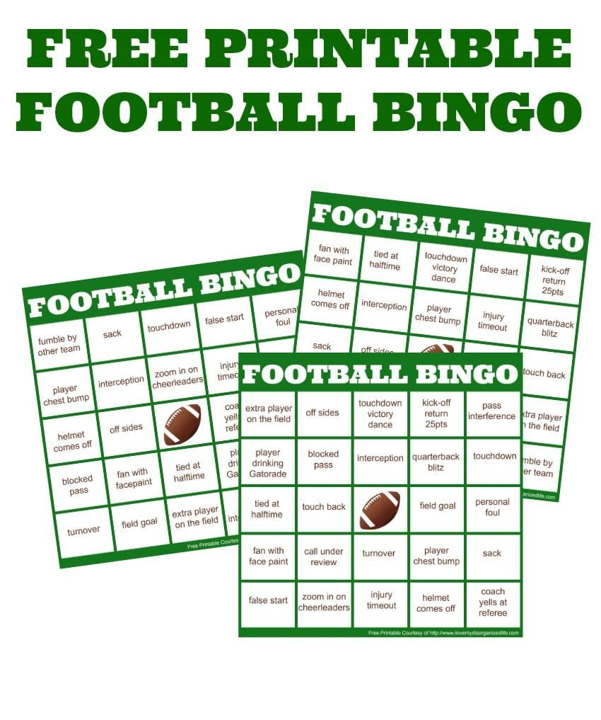 Easy Football Watching + Football Bingo Cards