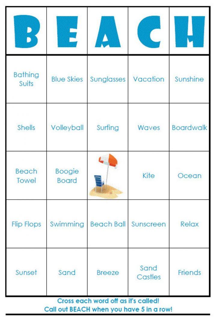 Beach Bingo Cards Printable