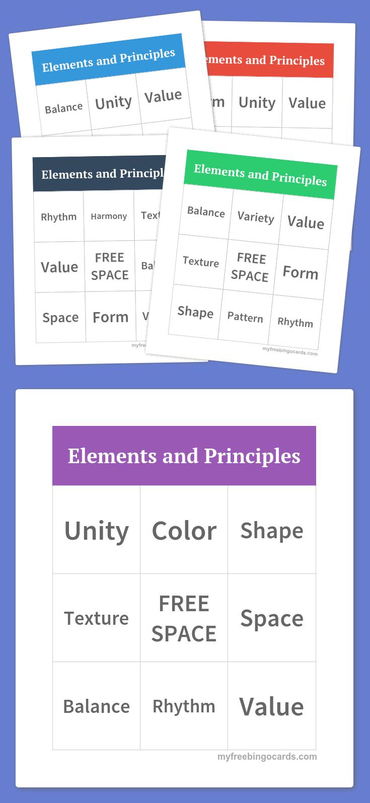 Elements And Principles Bingo | Art Elements And Principles